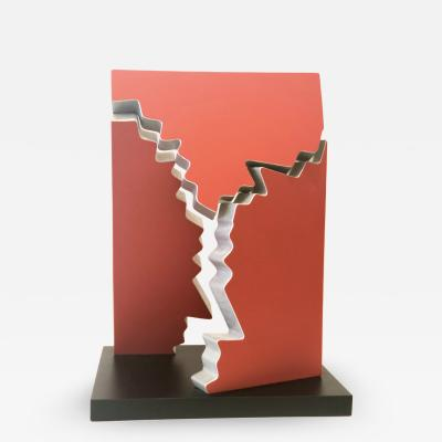 Paul Sisko Contemporary Sculpture Fractured Series Aluminum Red Paint