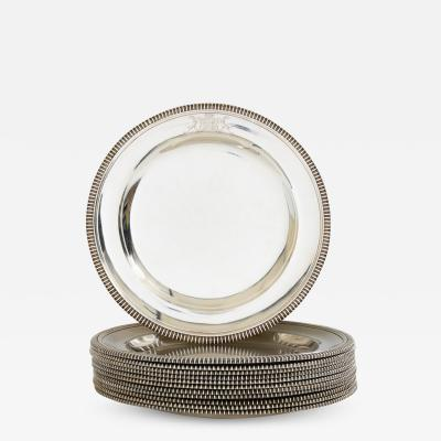 Paul Storr Set of 12 silver dinner plates by Paul Storr