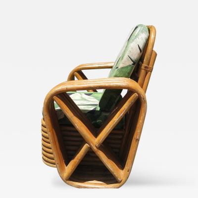 Paul T Frankl Childs Paul Frankl Square Pretzel Rattan Lounge Chair