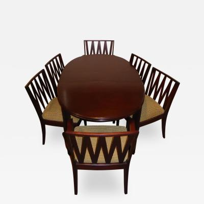 Paul T Frankl Johnson Furniture Mahogany Dining Table with Six Chairs by Paul Frankl 1940s