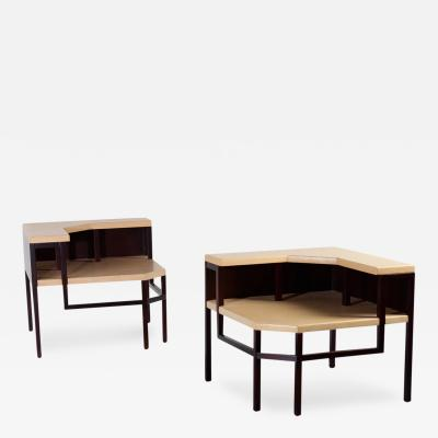 Paul T Frankl Paul Frankl Corner Tables Lacquered Cork and Mahogany