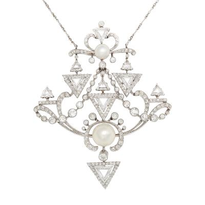 Paul Templier Important Diamond and Natural Pearl Pendant Brooch by Paul Templier