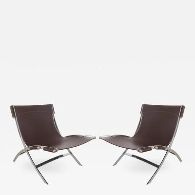 Paul Tuttle Antonio Citterio Flexform Italia Stainless Leather Scissor Chairs