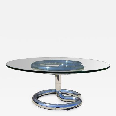 Paul Tuttle Glass and Chrome Anaconda Coffee Table by Paul Tuttle for Str ssle