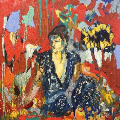Paul Wadsworth Blue Sari And Sunflower