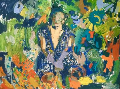 Paul Wadsworth Blue Sari In The Sunflower Garden