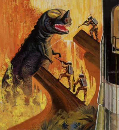 Paul Wenzel Godzilla like Dinosaur Monster Science Fiction Cover Illustration