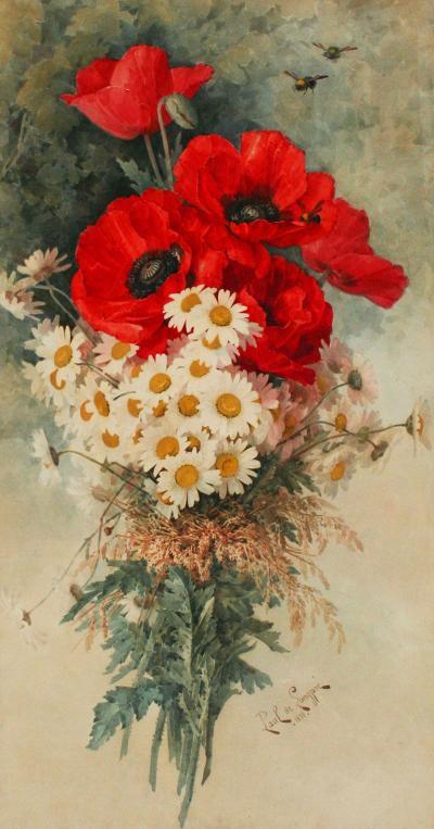 Paul de Longpr Poppies and Daisies
