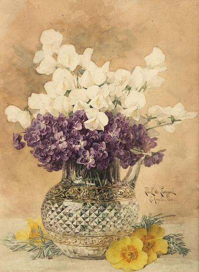 Paul de Longpre Still Life with Violets and Poppies