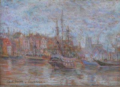 Paulemile Pissarro Boats in the Harbor by Paul Emile Pissaro