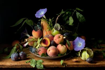 Paulette Tavormina Peaches and Morning Glories after G G