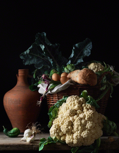 Paulette Tavormina Still Life with Cauliflower and Bread after L M from the series Bodeg n