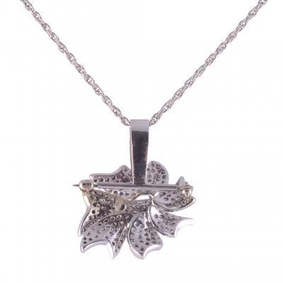 Pave Diamond Pin with Pendant Enhancer on Chain