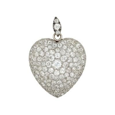 Pave Diamond Platinum Gold Heart Pendant Pin