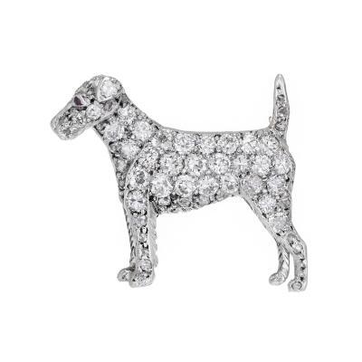 Pave Diamond Ruby Gold Pointer Dog Brooch