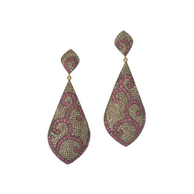 Pave Set Ruby and Diamond Chandelier Earrings