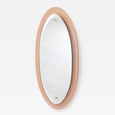 Peach Glass Oval Mirror Italy 1960s