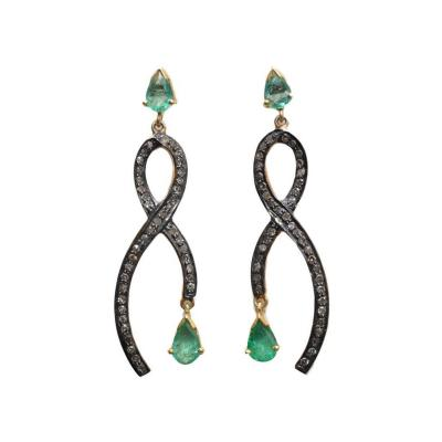 Pear shaped Faceted Emeralds with Ribbon of Pave set Diamonds
