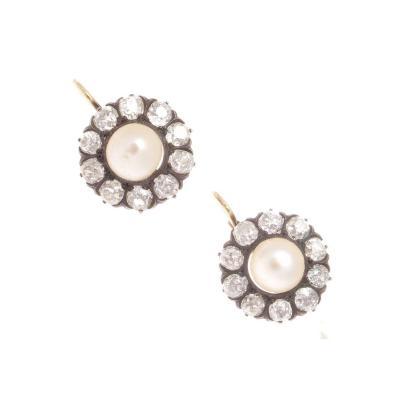 Pearl Diamond Gold Silver Earrings