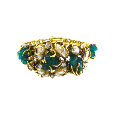 Pearl Emerald and Diamond Bracelet United States Circa 1960
