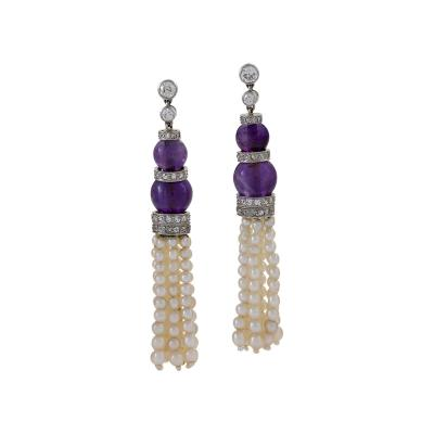 Pearl and Amethyst Diamond Accented Earrings