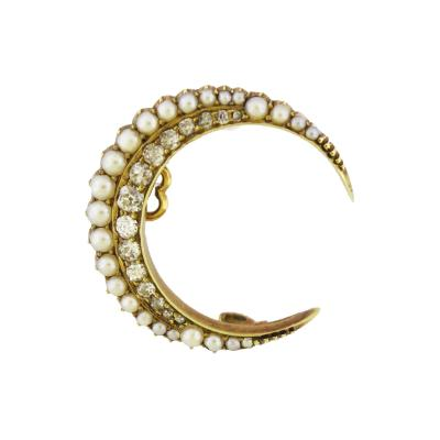Pearl and Diamond Crescent Moon Small Brooch