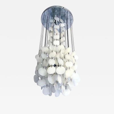 Pearl white cascade chandelier 1970s