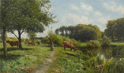 Peder Mork Monsted PEDER MONSTED PAINTING LANDSCAPE WITH YOUNG WOMAN AND COWS