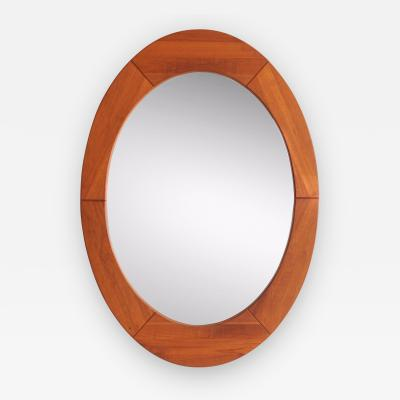 Pedersen Hansen Large Danish Teak Oval Mirror