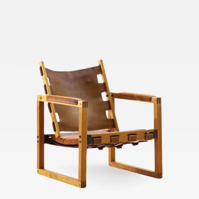 Pedersen Hansen Safari Chair by Peder Hansen in Eucalyptus Wood and Cognac Leather New Zealand