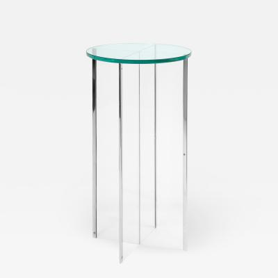 Pedestal in Lucite with Chrome Trim and Glass Top 1970s