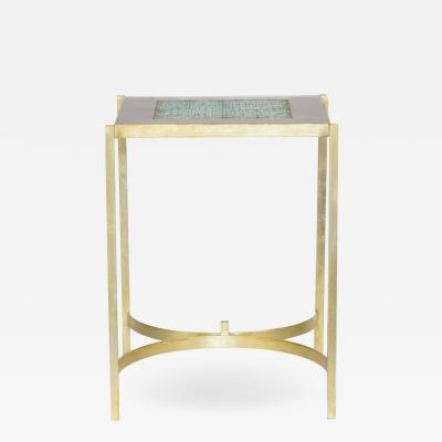 Pedestal table in earthenware and gilt brass 1970s