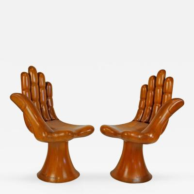 Pedro Friedeberg Pedro Friedeberg Natural Mahogany Right and Left Pair of Hand Chairs Settee