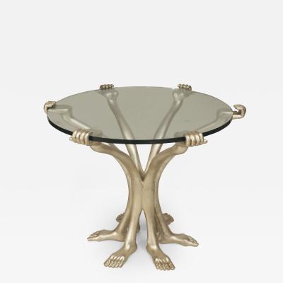 Pedro Friedeberg Post War Design Silver Leaf End Table