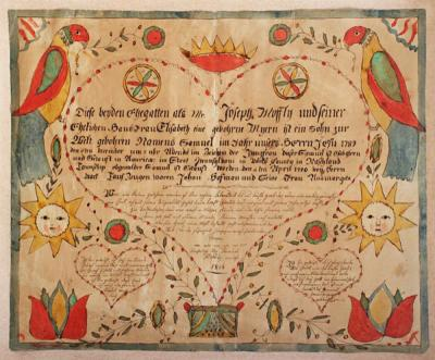 Pennsylvania Fraktur Dated 1805 Samuel Moffly