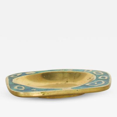 Pepe Mendoza 1958 Pepe Mendoza Spectacular Turquoise and Brass Gold Dish Midcentury Modernism