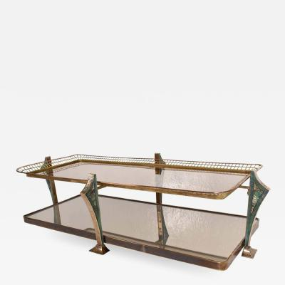 Pepe Mendoza Artistic Glass Coffee Table Brass and Malachite PEPE MENDOZA Modernism 1950s