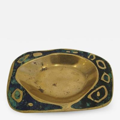 Pepe Mendoza Cast Brass and Azure Stone Dish by Pepe Mendoza