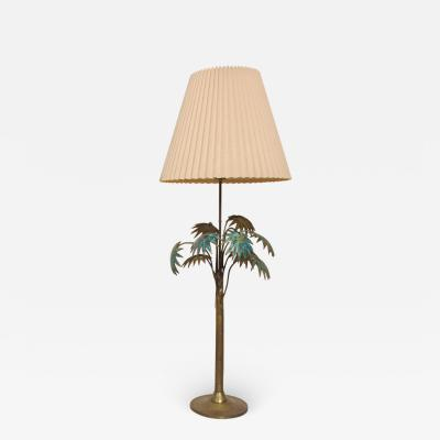 Pepe Mendoza Exquisite Pepe Mendoza PALM Tree Table Lamp in Bronze Malachite 1950s MEXICO