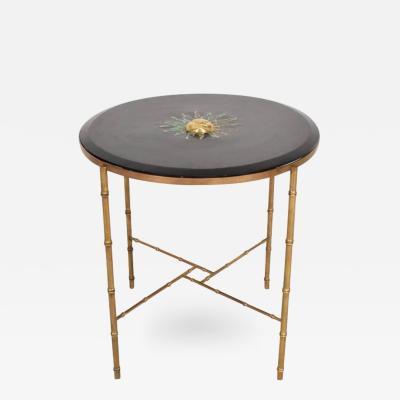 Pepe Mendoza Mexican Modernist Center Table in Brass Wood Malachite Pepe Mendoza