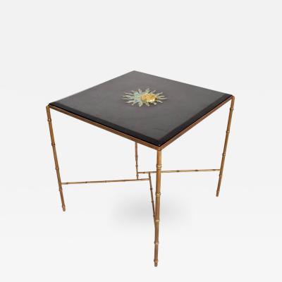Pepe Mendoza Mexican Modernist Center Table in Brass Wood Malachite Pepe Mendoza Square