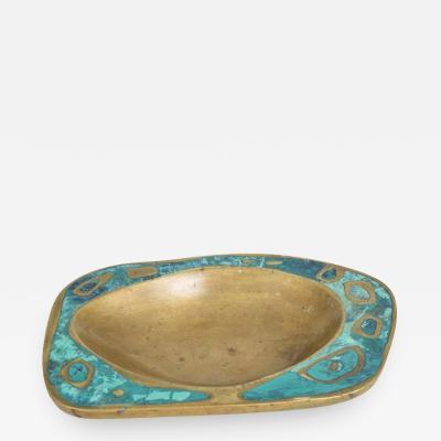 Pepe Mendoza Mexican Modernist Pepe Mendoza Dish Mid Century Brass Malachite