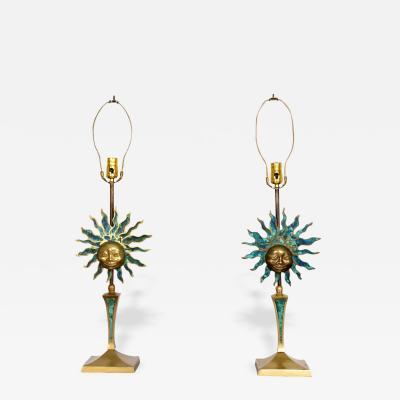 Pepe Mendoza Mid Century Modern Pepe Mendoza Sculptural Sun Table Lamps Brass Malachite
