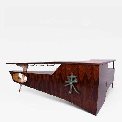 Pepe Mendoza Modernist Rosewood Desk Bar with Mendoza Hardware