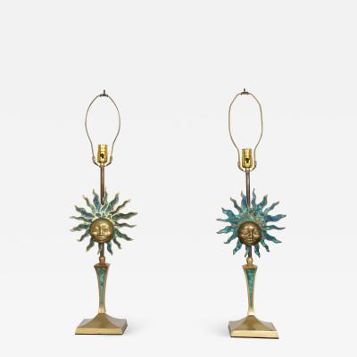 Pepe Mendoza PEPE MENDOZA Pair of Vibrant Sun God Table Lamps Bronze Malachite 1950s