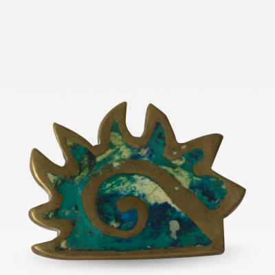 Pepe Mendoza PEPE Mendoza PULL Handle Maya Codex Bronze Turquoise Inlay 1958 Mexico