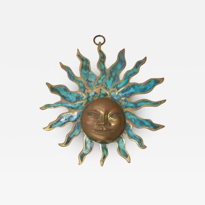 Pepe Mendoza PEPE Mendoza Wall Plaque Sun God Sculpture in Bronze Turquoise Mexico 1958