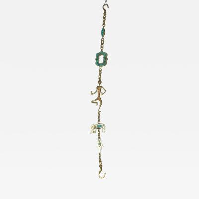 Pepe Mendoza Pepe Mendoza Brass Elephant Hanging Lamp Chain in Turquoise and Brass MEXICO