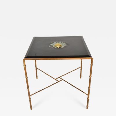 Pepe Mendoza Pepe Mendoza Malachite Sun God on Square Brass Bamboo Table 1950s Modernism