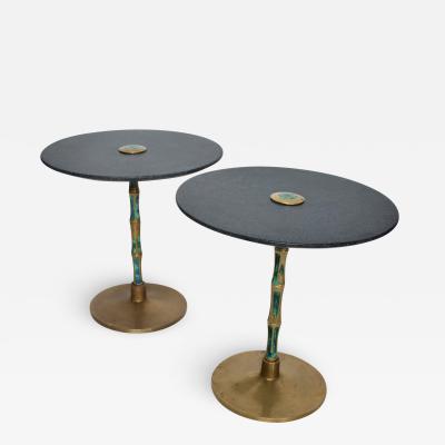 Pepe Mendoza Pepe Mendoza Sharp Black Stone Side Tables with Malachite Bronze 1950s Modern